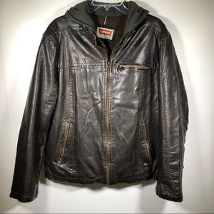Levi Strauss & Co Mens Brown Faux Leather Jacket